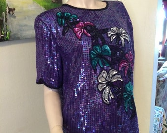 Vintage 80s Stenay Made in India Ladies Purple Green Pink Silver  Floral Sequin Beaded  100% Silk  Holiday Top Size Medium