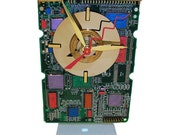 FREE SHIPPING! Circuit Board Clock Hand-Painted with Laptop Disk Platter, Amazing Geek Art.