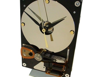 30% OFF! Hard Drive Clock with Acrylic Stand and Mirrored Disk Platter as the Dial.