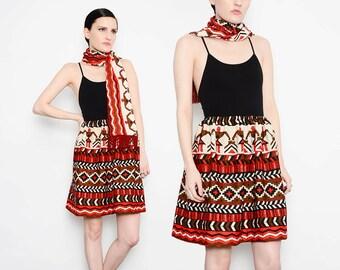 70s NATIVE Skirt Ethnic Print Tribal Striped Southwestern Full Skirt 1970s Boho Hippie Knit Mini Skirt with Scarf Medium M