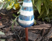 blue and white striped mini ceramic mushroom