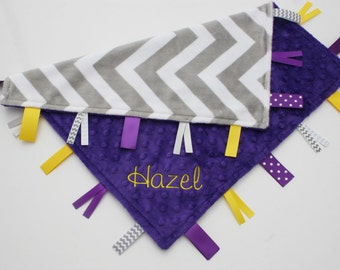 Gray and White Chevron Minky with Dark Purple Tag Blanket  Ribbon Lovey - Personalized - LSU