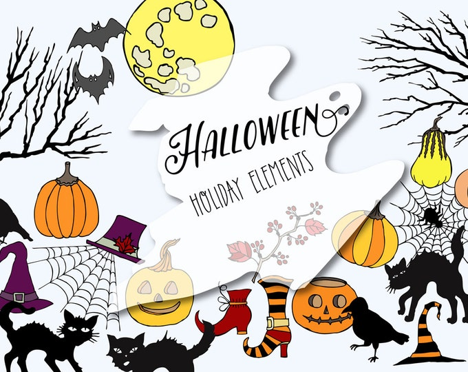 Digital Clipart with Halloween Colors. Painting, clip art, pumpkins, cats, moon, trees, Halloween, spider, Halloween party, hat, creepy