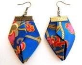 LetsPartySale Beachwear blue orange origami earrings, fabric origami earrings, geometric origami dangles