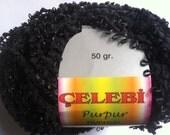 Celebi Purpur #4 Black with hint of Sparkle Ringlet Nub Novelty Ribbon Yarn 50 gram 124 yards