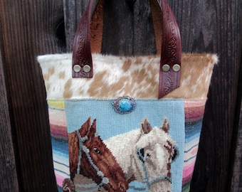 Vintage Horse Needlepoint, Genuine Cowhide, Western Leather Handbag
