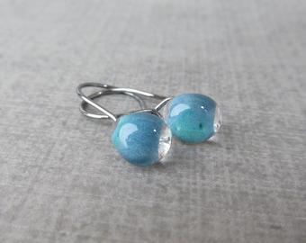 Ocean Blue Small Dangles, Small Blue Earrings, Dark Silver Earrings, Lampwork Earrings Blue, Small Wire Dangles, Sterling Silver Blue Glass