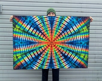 Rainbow Spiderweb Tapestry - Tye Dye Radio Wave Tie Dye Wall Hanging