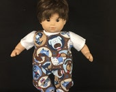 Doll Clothes For Bitty Baby Bitty Boy or Girl Twin or Some Other 15 Inch Dolls Going to the Dogs Dog Faces Overralls and Shirt