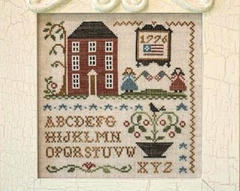 Oh My Stars - Cross Stitch Pattern by LITTLE HOUSE Needleworks - Sampler - 1776 - USA - Patriotic