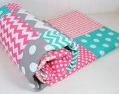 Baby Girl Blanket, Minky Blanket, Coral Crib Bedding, Nursery Decor, Baby Shower Gift, Pink, Salmon, Teal and Gray Grey Chevron