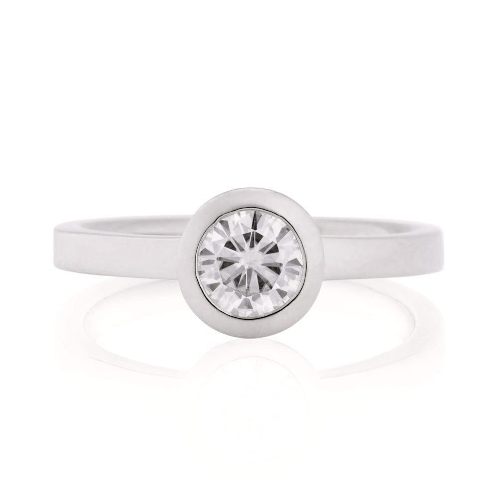 moissanite engagement ring 14k white gold window bezel