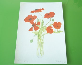 Red Poppies Postcard Vintage Greeting Card Flower Bouquet