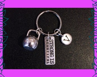 Fitness gift, kettlebell charm keychain, strong is beautiful charm key ring, custom initial letter V keychain, kettlebell queen, gift UK