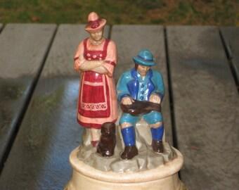 Big Beer Stein and Lid Vintage Man Woman Elk 70s Home Decor