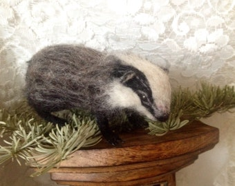 Needle felted Poseable Baby badger handmade animal wool woodland wildlife