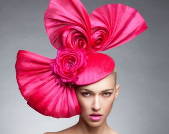 Hot Pink Swirls Headpiece , Hot pink Fascinator , Kentucky Derby hat, Couture headpiece
