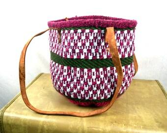 Vintage Rainbow Leather Woven Market Fun Bag Handbag