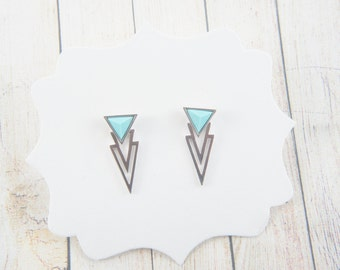 triangle silver and turquoise color ear jackets, double sides earrings,  stud earrings, thunder, December birthstone, trendy, trending, uni