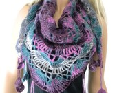 Purples Teal  and grays Boho scarf , Crochet lace scarf with fringes-Handmade-Introductory price