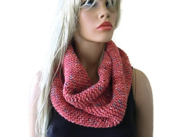 Salmon color  HARASHO winter infinity scarf,Hand knitted simplicity cowl, Warm winter scarf- best friend gift