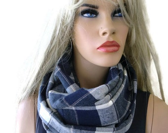 Navy/gray tartan plaid flannel winter infinity scarf, cotton flannel  / cowl /Loop scarf unisex