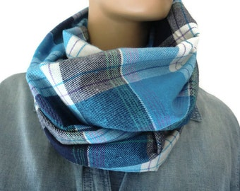 Blue plaid flannel winter infinity scarf/ cowl /Loop  scarf unisex flannel  blue Infinity Scarf