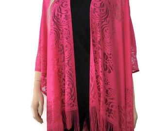 Pink Bohemian Lace Kimono -Lipstick pink-kimono cardigan-Oversize kimono