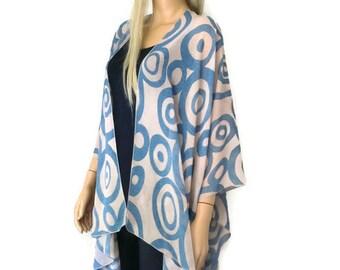 Kimono cardigan - Blue and granite swirls chiffon kimono-Lagenlook Chiffon oversize Kimono-Ruana