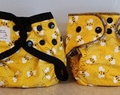 Preemie Newborn Cloth Diaper & Diaper Cover Set-  4 to 9 pounds- Bumble Bees on Yellow- 29012