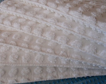 Vintage chenille Baby crib bumpers set all in white, standard crib size - 900-35
