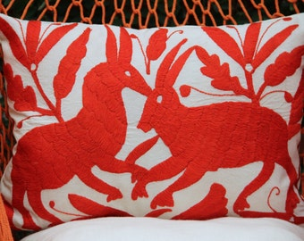 Red Folk Art Pillow Sham-Otomi Embroidery Ready to ship.