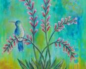 Desert Perch // Hummingbird, Desert Flower Plant, Abstract Original Painting - 36 x 24