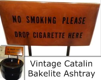 Vintage Catalin Bakelite DUK-IT Ash Tray with No Smoking Sign. Great Novelty Tobacciana. Circa 1950s. Buffalo New York.