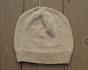Hand Knit Merino Wool Hat - Mens Knit Wool Cap - Wool Winter Hat - Soft Wool Beanie - Fall Accessories - Autumn Hat - Weathered Wood