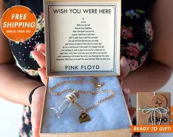 Love Song in a Bottle Necklace - Wish You Were Here by Pink Floyd Music Sheet - Personalized Gift - Bottle Necklace - Gift Ready Ships Fast!