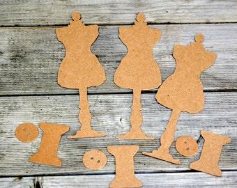 Kraft Chipboard Mannequin Die Cut Set
