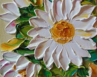 Home Decor , Painting Original , White floral Canvas , palette knife , daisy, wedding
