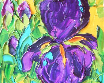 Palette Knife Oil  Painting Purple  Iris