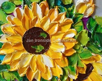 Oil Painting Sunflower Original  Impasto Flowers PAINTING Original Art