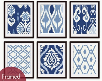 Ikat and Geometric Patterns (Series L) Set of 6 - Art Prints (Featured in Shades of Deep Blue) Blue Ikat Wall Art
