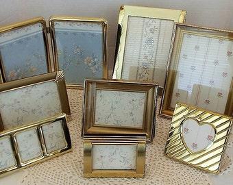 9 Vintage Wide Brass Frames, Shabby Wedding Decor, Country Cottage, Retro Decor, Farmhouse, Instant Gallery,