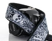 Damask Skull Camera Strap, dSLR, Camera Neck Strap, Canon camera strap, Nikon camera strap, Men's Women's,  266