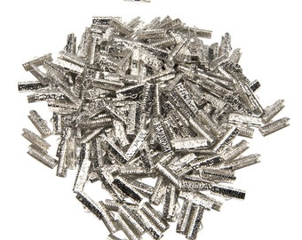 500 pcs. - 20mm or 3/4 inch Platinum Silver Ribbon Clamps - Artisan Series