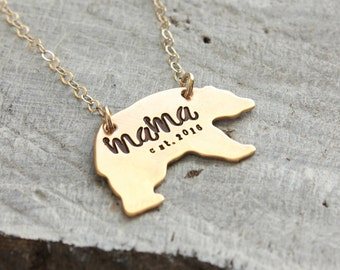 Mama Bear Necklace, Mothers Day gift, Momma bear necklace, golden mama necklace, custom personalized established year, mom gift, mama gift