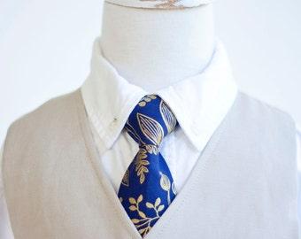 Necktie, Neckties, Boys Tie, Baby Tie, Baby Necktie, Wedding Ties, Ring Bearer, Ties, Rifle Paper Co - Queen Anne In Navy And Gold