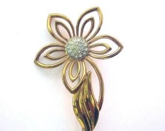 SALE Vintage Paste Rhinestone Flower Brooch Floral Jewelry