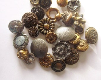 Vintage Metal Buttons Mixed Lot Sewing Craft Supply