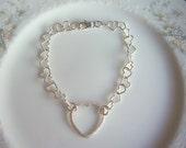 Sterling silver heart chain and link bracelet, heart shaped jewellery, valentine's day