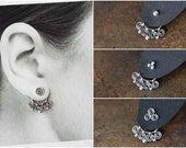 NEW Celtic Style Silver Ear Jacket, sterling silver, unique interchangeable mix and match stud earrings, double sided earring